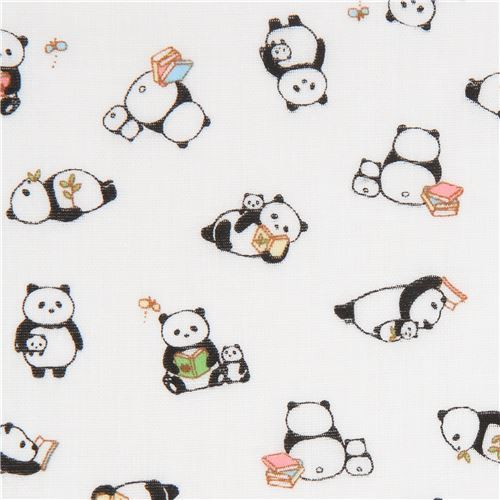 white double gauze fabric panda animal from Japan