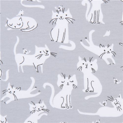 cat Robert Kaufman grey Laguna Jersey knit fabric