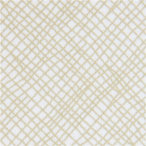 olive green light cream  grid pattern knit fabric Robert Kaufman