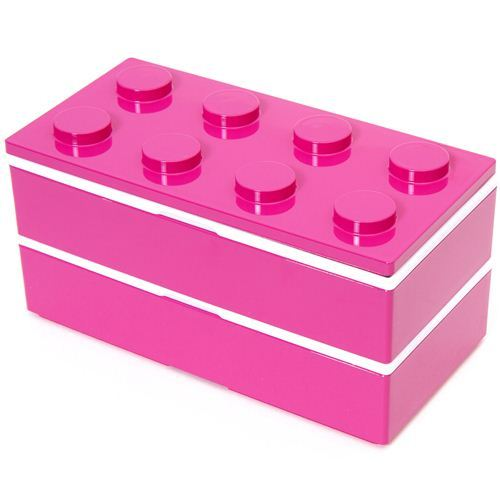 big funny pink building block Bento Box from Japan
