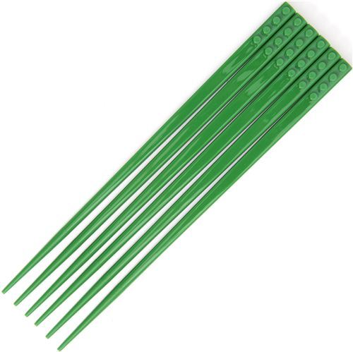 funny green building block chopsticks set with 3 pairs