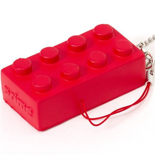 funny red squishie building block phone strap