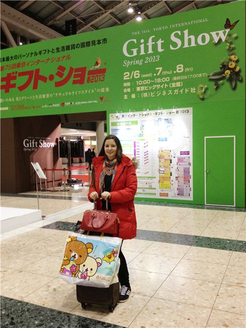 Sandra with lots of Gift Show goodies