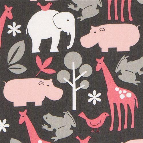 Michael Miller flannel fabric Zoology zoo animal grey