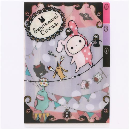 cute Sentimental Circus mini plastic folder 3-pocket animal