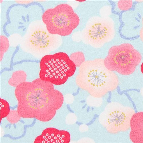 light blue Asia peach pink flower amunzen fabric from Japan