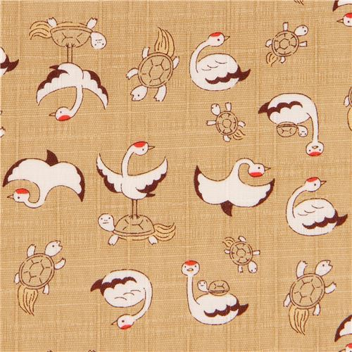 dark beige structured bird turtle dobby fabric by Cosmo from Japan