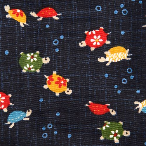 navy blue turtle Kyoto Japan cotton fabric structured