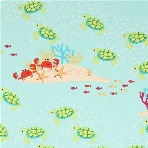 sea green turtle coral reef animal fabric by Michael Miller USA