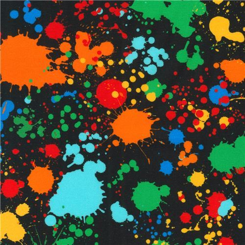 black paint splatter fabric by Robert Kaufman