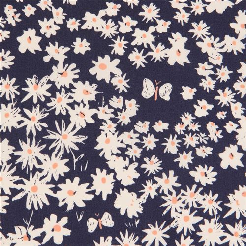 navy blue white flower birch organic fabric from the USA