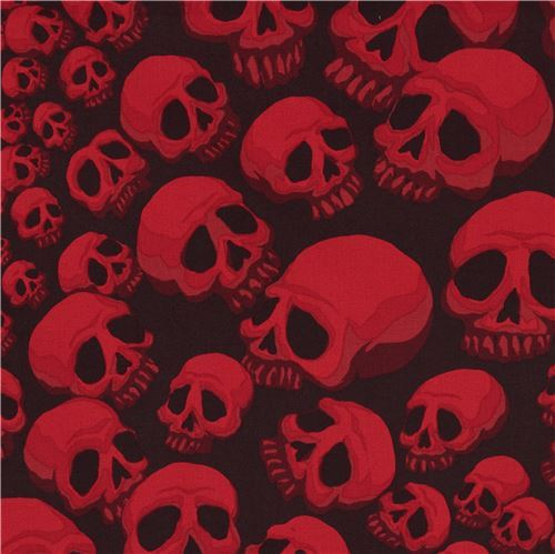 dark brown Alexander Henry fabric red skull