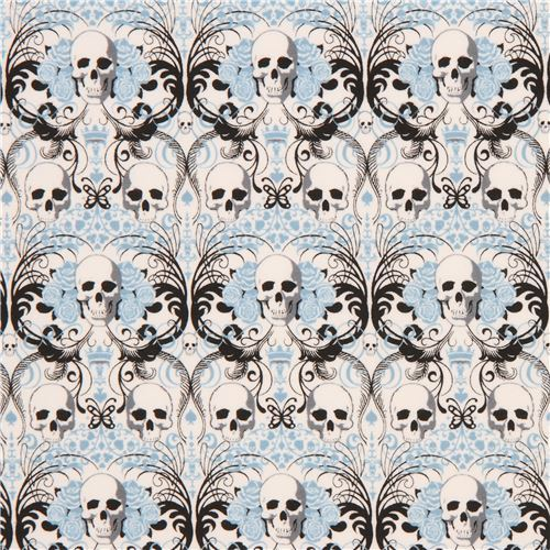 light cream with skull blue flower knit fabric Alexander Henry Regent Skull