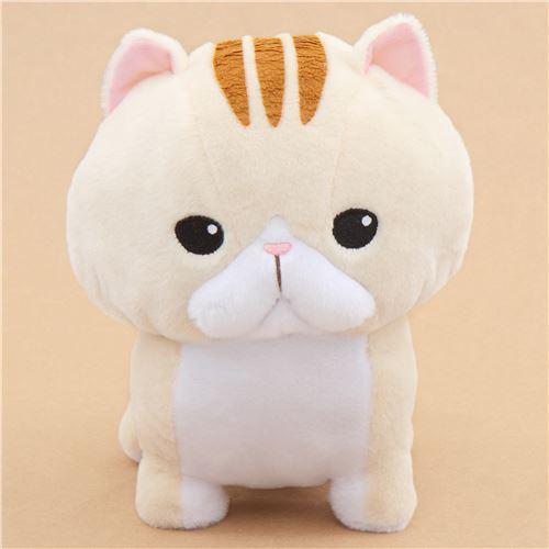 big cream cat with brown stripes Noseteru Munchkin plush toy Japan