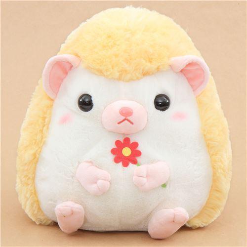 big light cream yellow hedgehog Harin the Hedeghog plush toy Japan