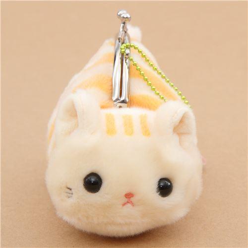 soft cute beige orange stripe cat plush Tsuchineko purse wallet from Japan