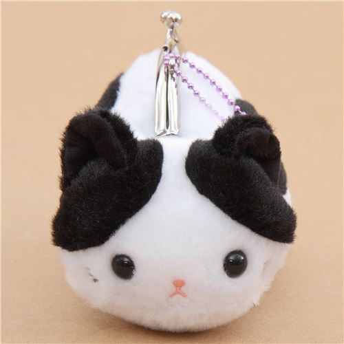 soft cute white black cat plush Tsuchineko purse wallet from Japan