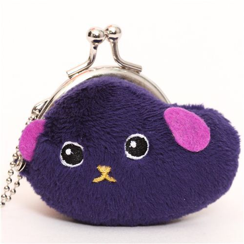 dark purple Mameshiba bean dog plush wallet charm