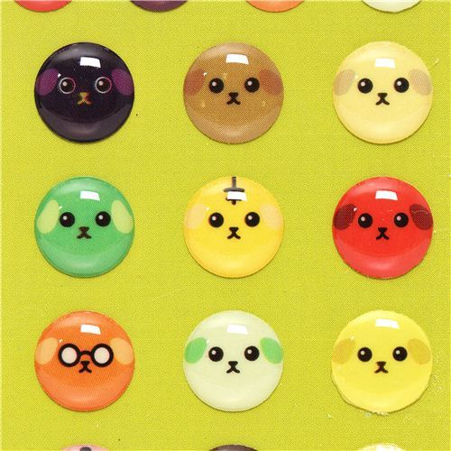 round Mameshiba bean dog epoxy stickers button stickers