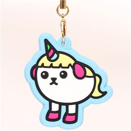 blue Mameshiba unicorn bean dog rubber charm