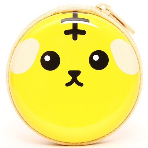 yellow Mameshiba bean dog tin case wallet coin case