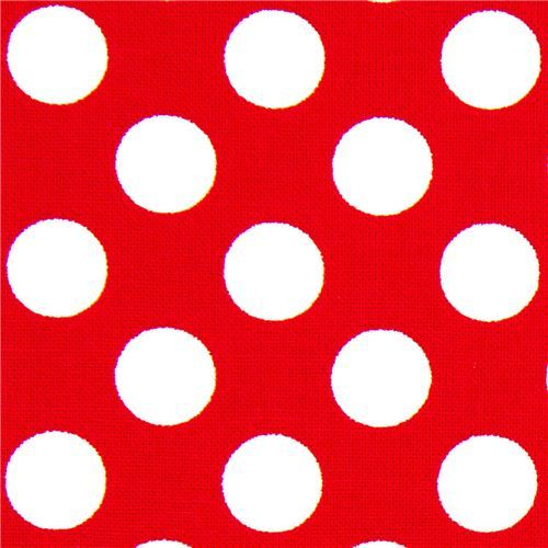 red Michael Miller fabric white polka dots Minnie