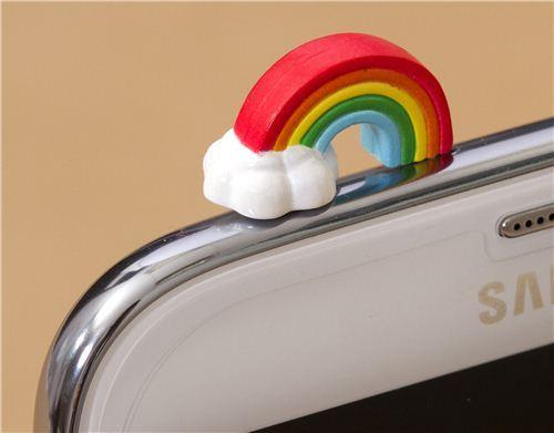 cute rainbow mobile phone plugy earphone jack accessory