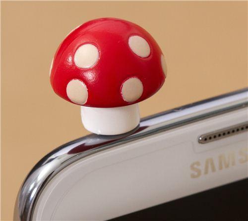 mushroom toadstool mobile phone plug earphone jack accessory