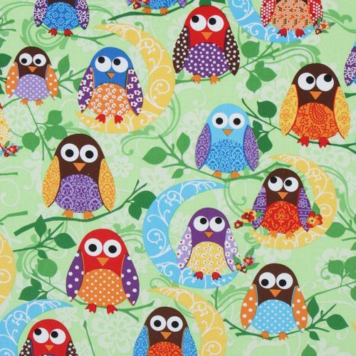 cute green owls fabric What a Hoot USA designer