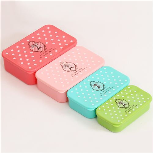 Eiffel Tower and polka dots Bento Box 4 pcs Lunch Box