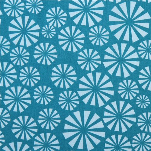 teal circle animal birch organic fabric Urchin Forest