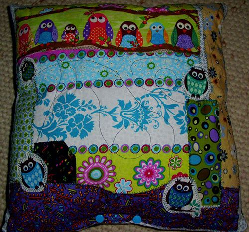 The green owl fabric used for the cushion is one of our most popular designs.