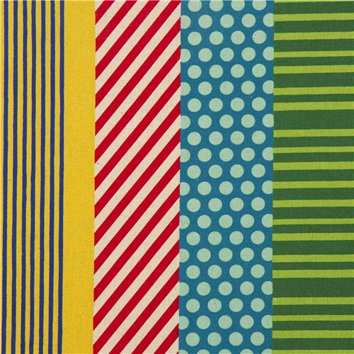 echino laminate stripes fabric kikka yellow-red-blue