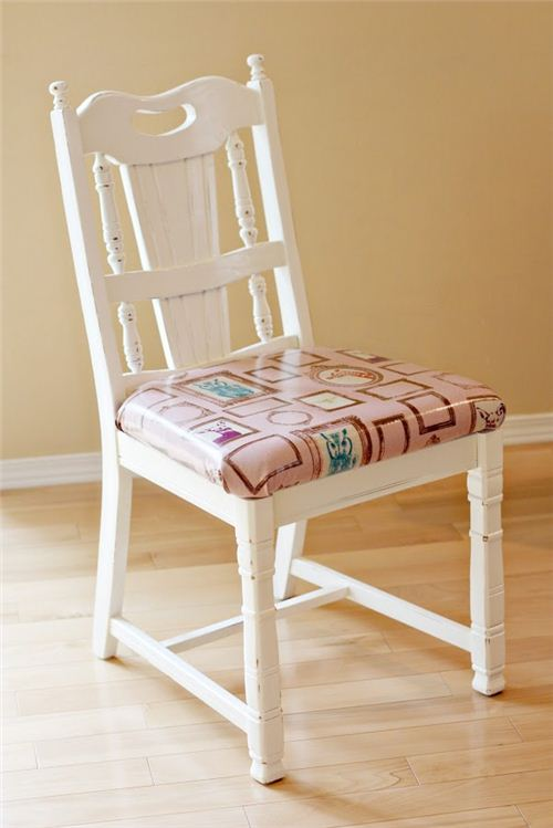 A great project: Sew Much Ado reupholstered chairs with laminate fabric