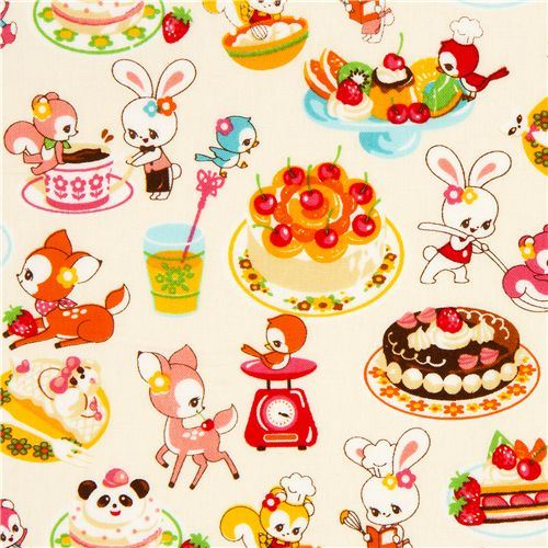 white kawaii fabric desserts animals by Cosmo from Japan