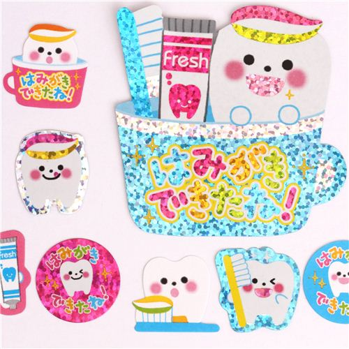 cute dental care glitter stickers