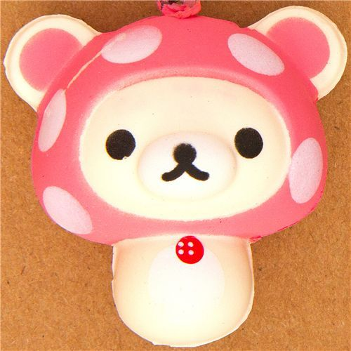 Korilakkuma bear mushroom squishy cellphone charm