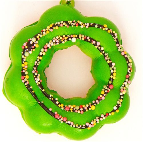 green flower donut squishy charm with sprinkles