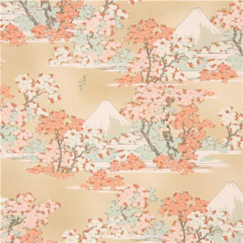 beige beautiful flower mountain fabric from Japan