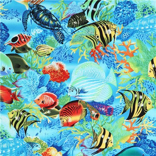 blue Michael Miller fabric colorful Tropical Fish