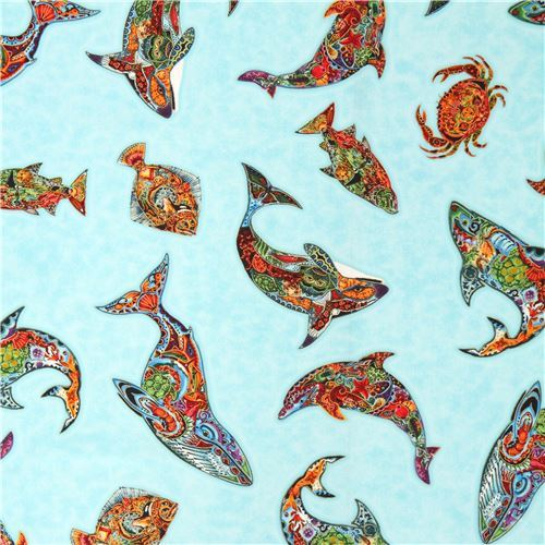 blue fabric colorful sea creature gold metallic by Robert Kaufman USA