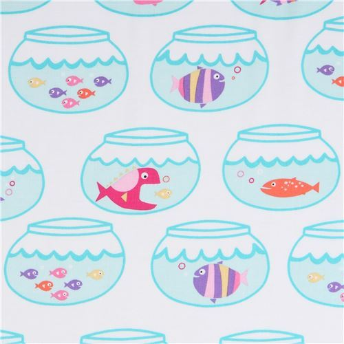 white Michael Miller fabric pink purple fish bowl Swimming in Circles
