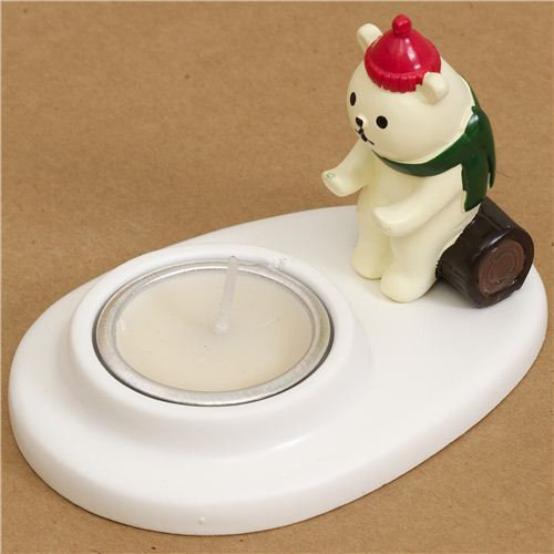 cute Christmas candle holder with Christmas bear from Japan