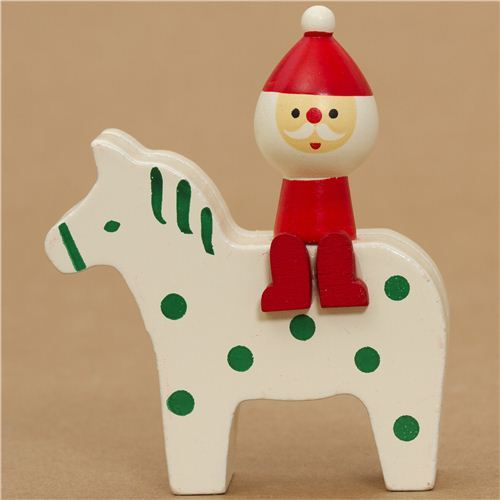 cute Santa Claus on pony Christmas card holder Japan