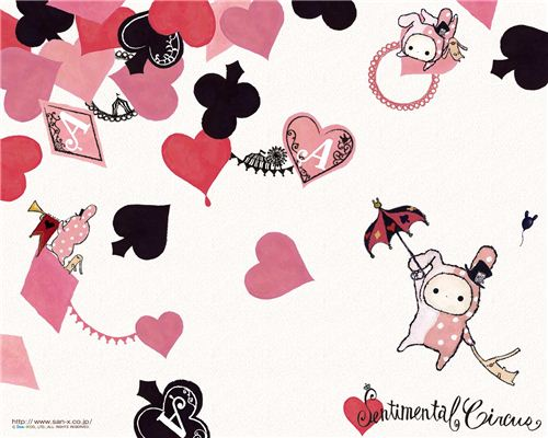 A cute Sentimental Circus wallpaper with playing cards symbols