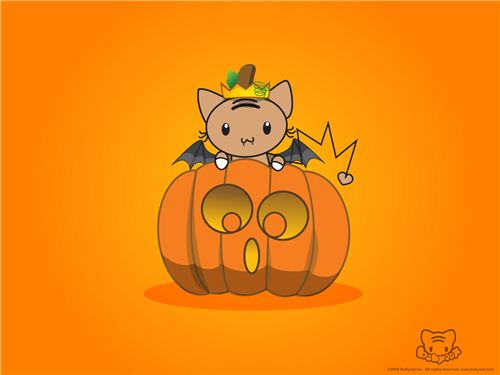 Super cute bekyoot wallpaper with bat cat and pumpkin