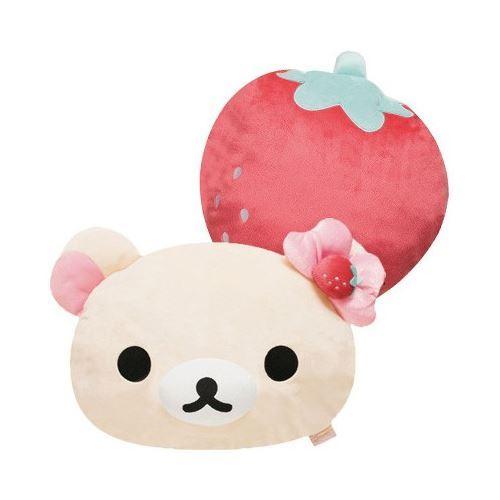 big Korilakkuma white bear head strawberry reversible plushie pillow by San-X