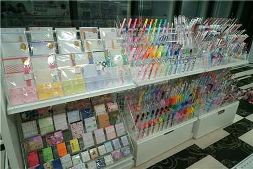 Colorful stationery on display