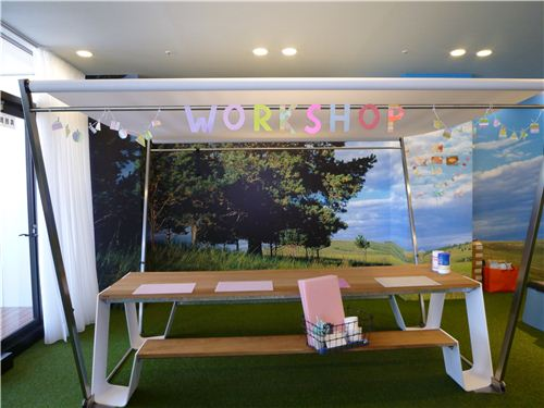 This looks so inviting: One of the crafting tables for the participants